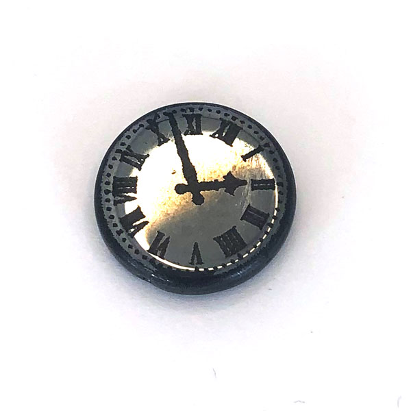 Czech glass clock bead black and chrome 17mm
